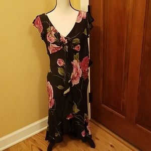 SUE WONG DRESS FLORAL BLACK 8 NEW